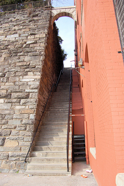 "These are the five-story-high ""Exorcist steps"" down to M Street.  In the chilling movie of that name, a priest rids himself of the devil by hurling to his death down these steps.  (dameetch, Flickr Creative Commons)"
