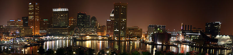Baltimore's skyline is stunning.  But there aren't so many working streetlights in other parts of town.  (old man gnar, Wikipedia Commons)