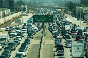 One of the touted benefits of telecommuting is that it will reduce the volume of the car-and-exhaust kind of commuting.  That's hard to prove in some cities.  (Atwater Village Newbie, Flickr Creative Commons)