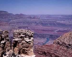 You can walk or ride a mule down to the Colorado River, far, far below the rim of the Grand Canyon.  Either way, going down is scarier. (Carol M. Highsmith)