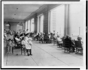 Life was good, and leisurely, on the piazza of the Hotel Cape May in 1909.  (Library of Congress)