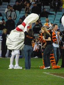 Somebody has picked as a team nickname and mascot — the Deflated Bowling Pins?  I'd put my money on the Tiger.  (paddynapper, Flickr Creative Commons)