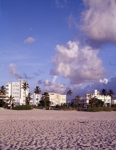 The sun doesn't ALWAYS shine on Miami Beach, Florida, but when it does, the sand, palm trees, and art deco architecture look awfully inviting. (Carol M. Highsmith)