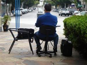 Even the international teleworking association folks might agree that this would be carrying telework a bit far.  A laptop on the back patio, maybe, but . . .   (mokolabs, Flickr Creative Commons)