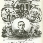None of the figures featured on this sheet music cover of James Bland's songs appears to be wearing footwear of any sort.  (Library of Congress)