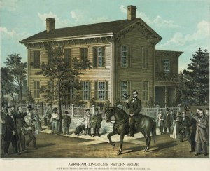 In this lithograph, Abraham Lincoln is shown returning to his Springfield, Illinois, home in 1858, after his famous series of debates with fellow U.S. Senate candidate Stephen A. Douglas. (Library of Congress)