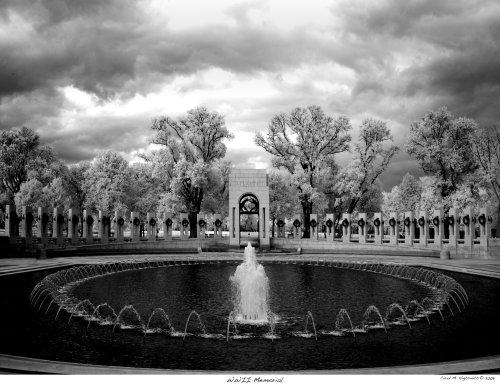 This is not another snow scene.  Look carefully, it's Carol's infrared shot of the World War II Memorial, in which many natural green objects turn white.  (Carol M. Highsmith)