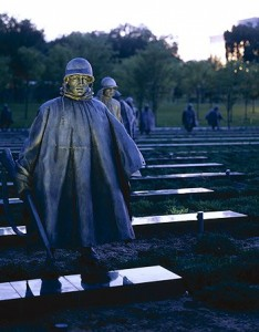 Carol's dusk shot of a wary U.S. Army patrol at the Korean War Veterans Memorial.  (Carol M. Highsmith)