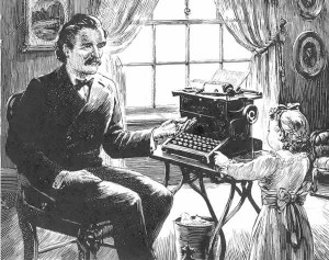 "A 1945 Remington Company ad in ""Collier's"" magazine featured Mark Twain, his daughter, and one of his typewriters.  Twain called the machine ""a candidate for damnation.""  (twainquotes.com)"