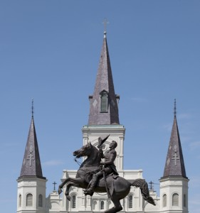 Here's Andy, riding high in front of the St. Louis Cathedral in New Orleans's Jackson Square.  (Carol M. Highsmith)