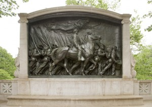 "L Here's sculptor Augustus St. Gaudens's memorial to Colonel Robert Gould Shaw on the Boston Common.  Shaw commanded an all-black Union regiment in the U.S. Civil War.  Its heroic deeds were portrayed in the movie ""Glory."" (Carol M. Highsmith)"