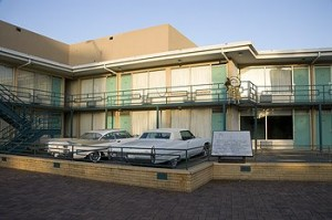 This is the very balcony of the Lorraine Motel on which Martin Luther King, Jr., was gunned down.  (Carol M. Highsmith)