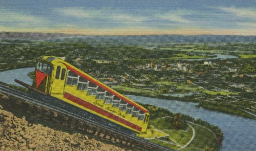 "I didn't mention Chattanooga, whose incline railway is shown in this old postcard view.  Famous for the ""Chattanooga Choo-Choo"" song about it, and for its steep hill up to Lookout Mountain, it lies in the southeastern tip of Tennessee, right above Alabama. (Library Congress)"