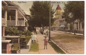 Perry Street is busier now than it was about 1910 when this old postcard shot was taken. But not THAT much busier.  (Courtesy, Donald Pocher, Old Cape May Cards)