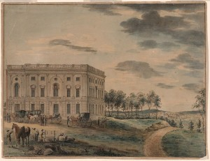 This painting depicts the U.S. Capitol right about the time Jefferson took his presidential oath for the first time.  The building was just eight years old and bears little resemblance to the domed landmark of today. (Library of Congress)