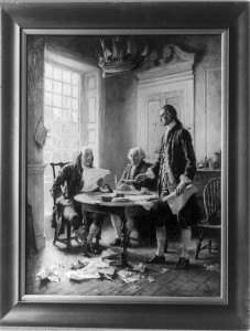 Jean-Leon Gerome Ferris's painting depicts Benjamin Franklin, John Adams, and Thomas Jefferson with the new Declaration of Independence. (Library of Congress)