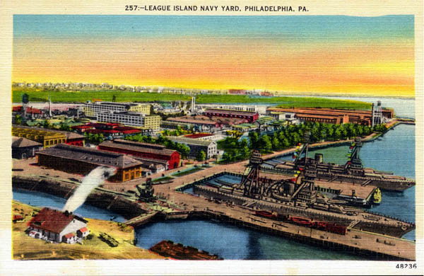 This 1920s League Island postcard view was made from a colorized black-and-white photo.  (Library of Congress)
