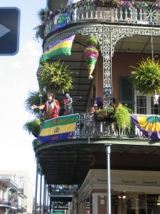 This French Quarter balcony is ready for Mardi Gras action. (Infrogmation, Flickr Creative Commons.)