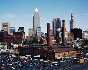 "When I lived there, Cleveland called itself ""The Greatest Location in the Nation.""  Then the Cuyahoga River, filled with industrial runoff, caught fire, and the city became the butt of many jokes.  (Carol M. Highsmith)"