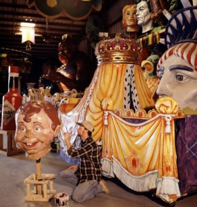 An artisan works on one of the giant float props at Mardi Gras World.  (Carol M. Highsmith)