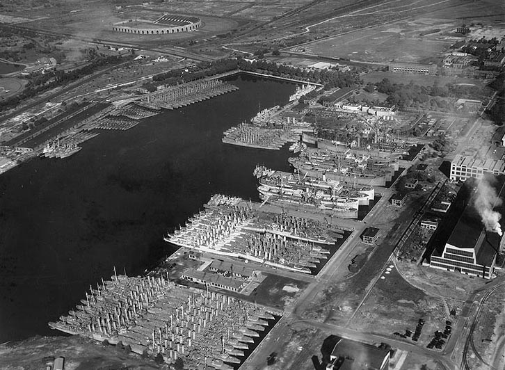 "An exquisite birds'-eye-view of the ""reserve basin,"" taken in 1938.  (U.S. Naval History Center)"