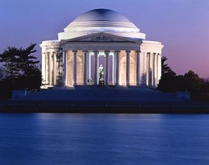 The U.S. Postal Service used this image by Carol of the Jefferson Memorial for its Priority Mail stamp. (Carol M. Highsmith)