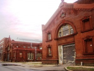 These are some old Philadelphia Naval Shipyard warehouses a few years after the facility closed.  (getoutphilly.org)