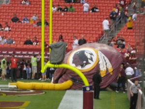 This hot-air version of a Redskins' helmet appears to have collapsed.  Critics would say the image mirrors the team's recent seasons.  (dukiekirsten3, Flickr Creative Commons)