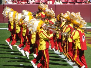 The Redskins are one of two NFL teams with marching bands.  Those in the other one don't wear Indian headdresses.  (littlerottenrobin, Flickr Creative Commons)