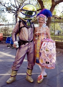 This couple, whom Carol photographed on historic Jackson Square, is in the Mardi Gras swing of things.  (Carol M. Highsmith)