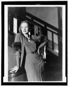 "Known for her ""bedroom eyes,"" Marlene Dietrich was sometimes mysterious on screen and almost always off it.  Although she served in World War II against her native Germany, she had no interest in war or much else that was in the past.  (Library of Congress)"
