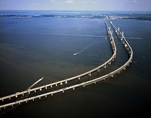 When the first U.S. Census was conducted in 1790, the nation's mean population center was very near the Chesapeake Bay, minus this modern bridge, of course.  (Carol M. Highsmith)