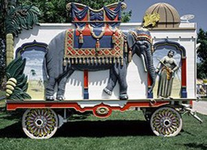 When the circus comes to town, you may have seen clowns riding on circus wagons like this one at Circus World.  (Carol M. Highsmith)