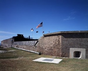 Fort Sumter was quickly surrendered after Confederate guns pounded the Federal garrison in the opening engagement of the Civil War.  (Carol M. Highsmith)