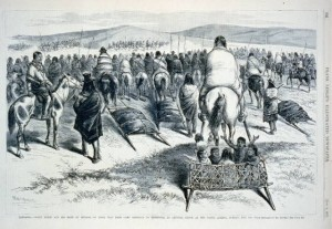 A sketch of the surrender of Crazy Horse and his people.  (Library of Congress)