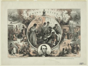 Emancipation, or the heralded freeing of the slaves by President Abraham Lincoln, actually freed only 200,000 or so slaves in areas of the south then under Union control.  Millions more, including some in border and northern states, remained in servitude until the war was won.  (Library of Congress)