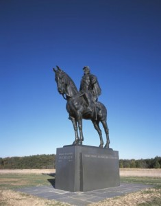 "A statue to legendary Confederate general Thomas ""Stonewall"" Jackson stands at the site of the First Battle of Bull Run.  It was there that he got his nickname after fellow southern general Barnard Bee exhorted his troops, ""There is Jackson standing like a stone wall. Let us determine to die here, and we will conquer. Rally behind the Virginians!""  (Carol M. Highsmith)"