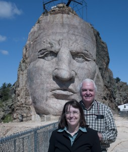 You want scale? Carol and I are standing on an outcropping next to the carving of just Crazy Horse's head.