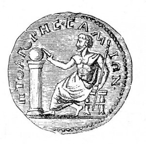 Pythagoras, shown here on a 3rd-Century coin, was not just a mathematician.  He was also a philosopher and mystic.  Must have been BOTH left-brained and right-brained.  (Wikipedia Commons)