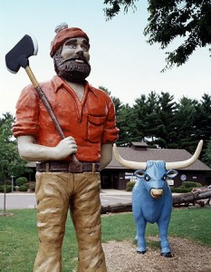 Big, bad Paul Bunyan and his curiously colored buddy are hits in Eau Claire.  (Carol M. Highsmith)