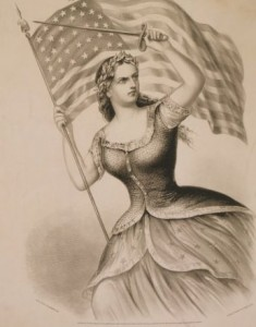 "Americans once sang ""Hail, Columbia"" as the symbol of American values and optimism.""  Now she's thought to be old-fashioned by many.  (Library of Congress)"