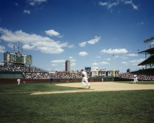 Like cornfields and county fairs, baseball games such as this one at Chicago's venerable Wrigley Field are a fixture of Midwest life.  (Carol M. Highsmith)