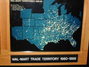 "Now global, Wal-Mart began in the South and sort of took over, as its ""territory"" map from the 1980s shows.  (nsub1, Flickr Creative Commons)"