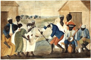 In this early folk painting, southern slaves dance to banjo and percussion instruments in a style that quite likely influenced the development of jazz.  (Wikipedia Commons)