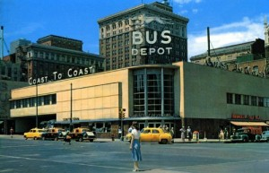 Just as in 1950, when this photo was taken in Omaha, Nebraska, a lot of young people may see the bus station as representing a way out life's tedium.  (Library of Congress)