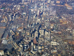 Is the South changing?  Contrast this aerial view of downtown Atlanta, Georgia, with the photo at the end of the blog.  (kla4067, Flickr Creative Commons)