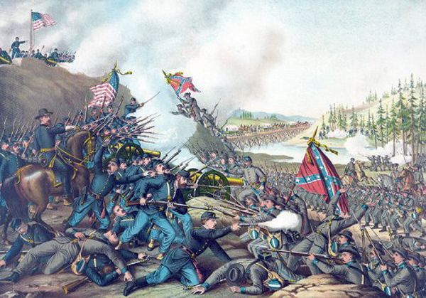 The Battle of Franklin, Tennessee, depicted in a lithograph published in 1891.  (Library of Congress)