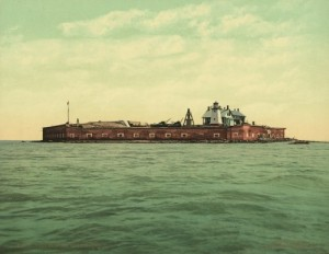 Fort Sumter was built to protect Charleston, not receive fire FROM it.  (Library of Congress)
