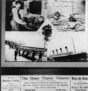 """The sinking of the great ocean liner """"Titanic"""" was headline news for months in 1912.  But gradually, people's thoiughts moved on to other things.  (Library of Congress)"""