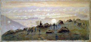 A hill called Little Round Top, shown here in a painting by Edwin Forbes, was the scene of an unsuccessful Confederate attack at Gettysburg.  (Library of Congress)